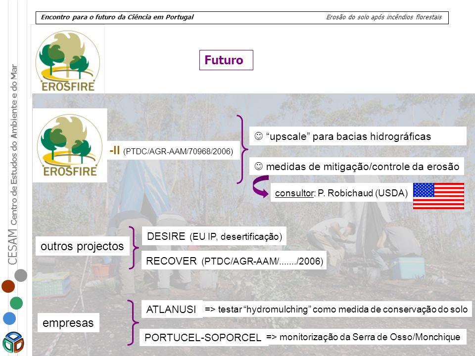 CESAM Centro de Estudos do Ambiente e do Mar Encontro para o futuro da Ciência em Portugal Erosão do solo após incêndios florestais Futuro upscale par