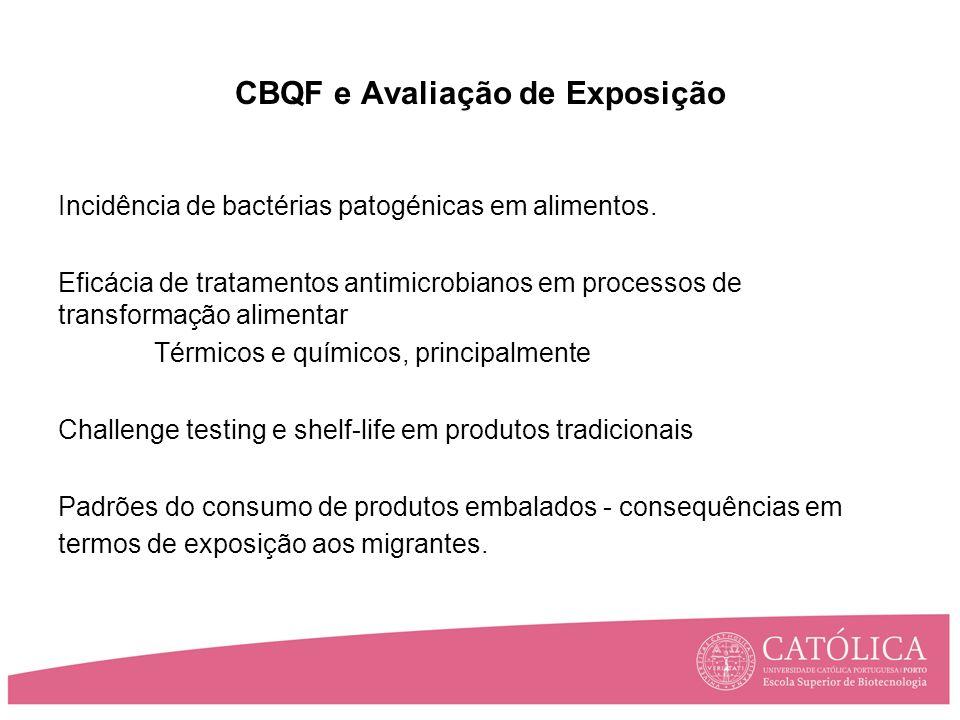 CBQF e Avaliação de Exposição Incidência de bactérias patogénicas em alimentos.