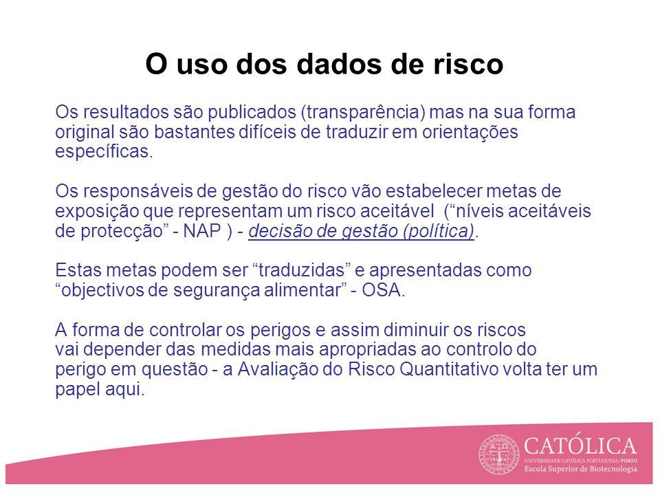O uso dos dados de risco Os resultados são publicados (transparência) mas na sua forma original são bastantes difíceis de traduzir em orientações específicas.