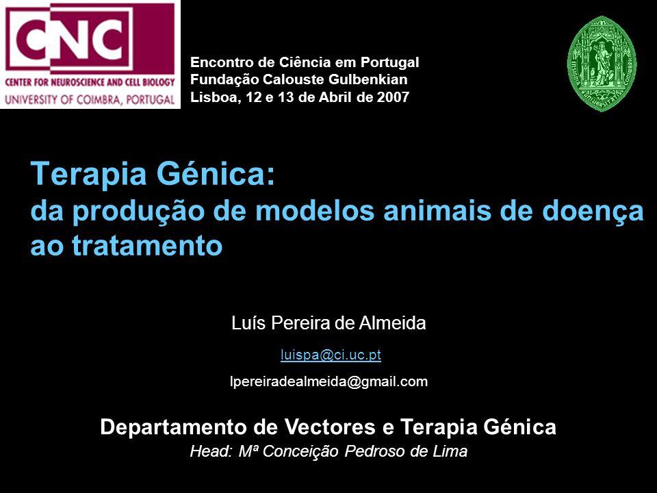 Terapia Génica: da produção de modelos animais de doença ao tratamento Luís Pereira de Almeida luispa@ci.uc.pt lpereiradealmeida@gmail.com Departament