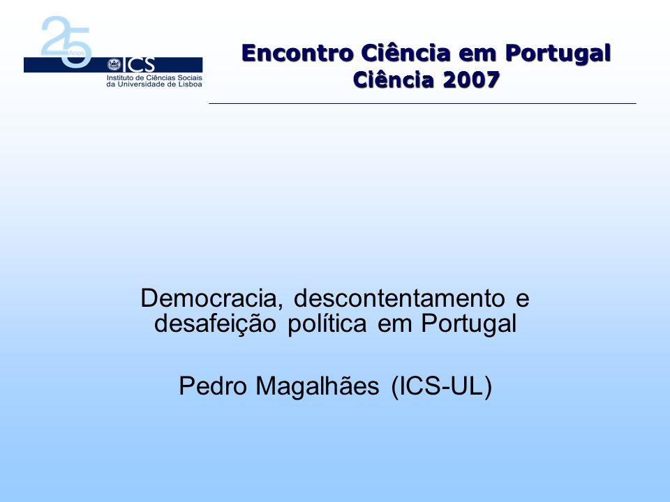 Estudo integrado no programa de investigação Comportamento Eleitoral dos Portugueses (2002-) e integrado na linha temática Cidadania: Participação e Democracia.