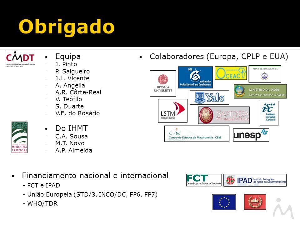 Obrigado Colaboradores (Europa, CPLP e EUA) Financiamento nacional e internacional - FCT e IPAD - União Europeia (STD/3, INCO/DC, FP6, FP7) - WHO/TDR Equipa – J.