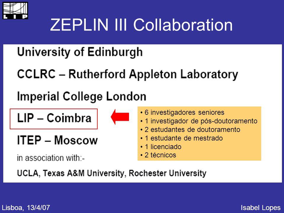 ZEPLIN III Collaboration 6 investigadores seniores 1 investigador de pós-doutoramento 2 estudantes de doutoramento 1 estudante de mestrado 1 licenciado 2 técnicos Lisboa, 13/4/07Isabel Lopes