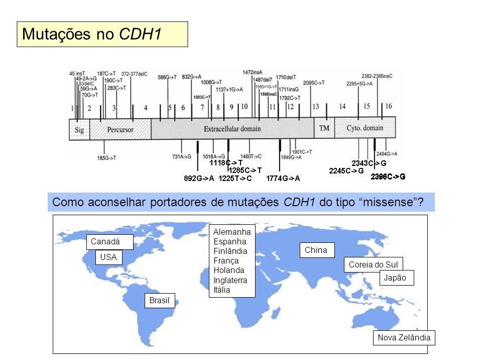 2396C->G Mutações no CDH1 Como aconselhar portadores de mutações CDH1 do tipo missense? Canadá Brasil China USA Alemanha Espanha Finlândia França Hola