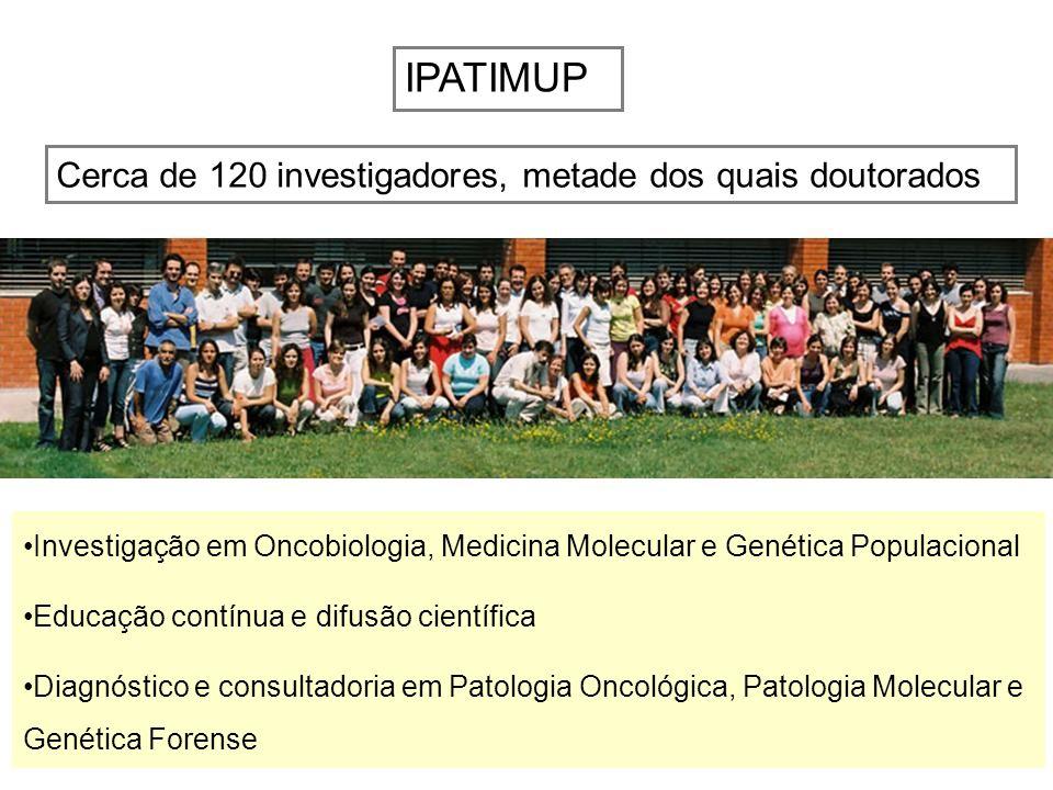 IPATIMUP Cerca de 120 investigadores, metade dos quais doutorados Investigação em Oncobiologia, Medicina Molecular e Genética Populacional Educação co