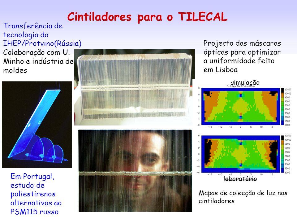 Cintiladores para o TILECAL Transferência de tecnologia do IHEP/Protvino(Rússia) Colaboração com U. Minho e indústria de moldes Em Portugal, estudo de