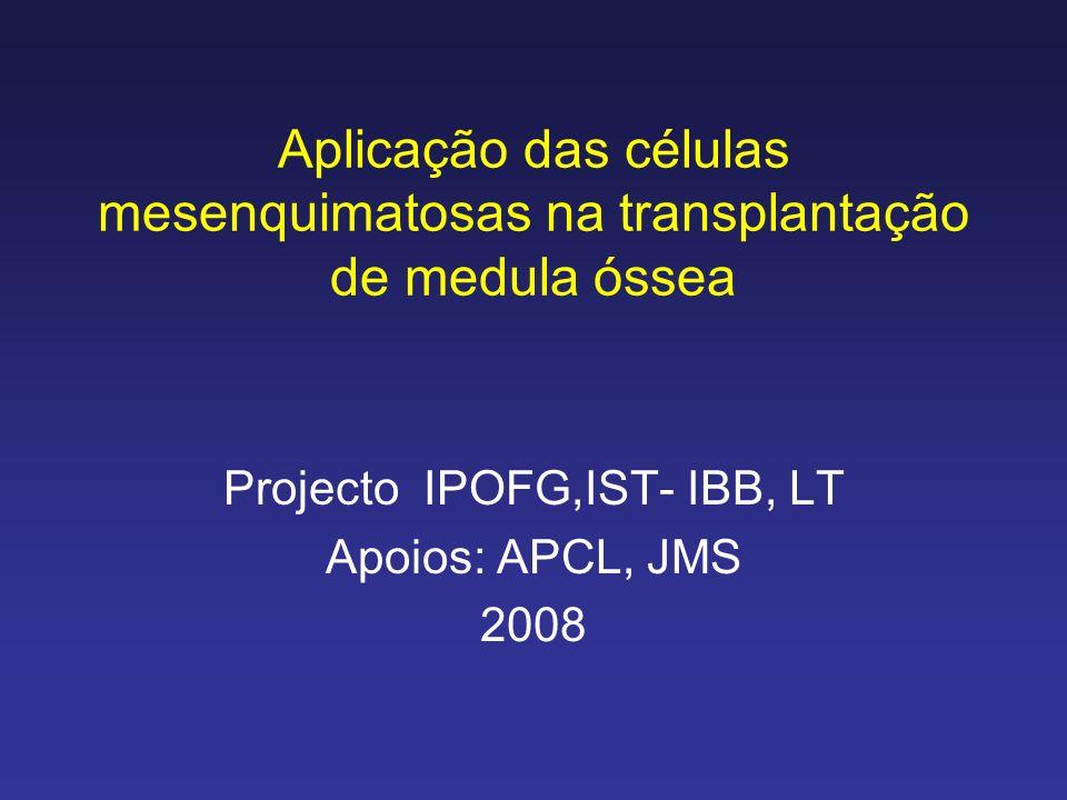 Aplicação das células mesenquimatosas na transplantação de medula óssea Projecto IPOFG,IST- IBB, LT Apoios: APCL, JMS 2008