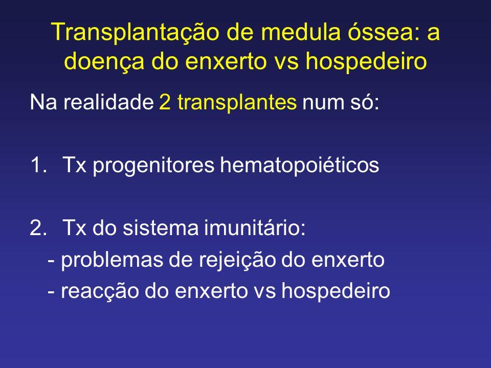 Transplantação de medula óssea: a doença do enxerto vs hospedeiro Na realidade 2 transplantes num só: 1.Tx progenitores hematopoiéticos 2.Tx do sistem