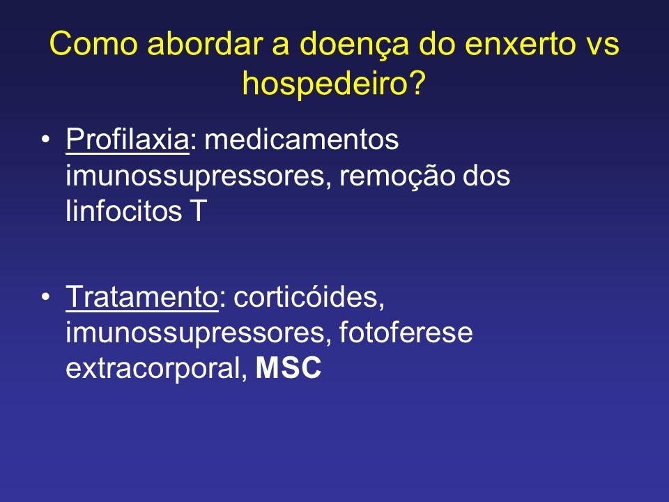 Como abordar a doença do enxerto vs hospedeiro? Profilaxia: medicamentos imunossupressores, remoção dos linfocitos T Tratamento: corticóides, imunossu
