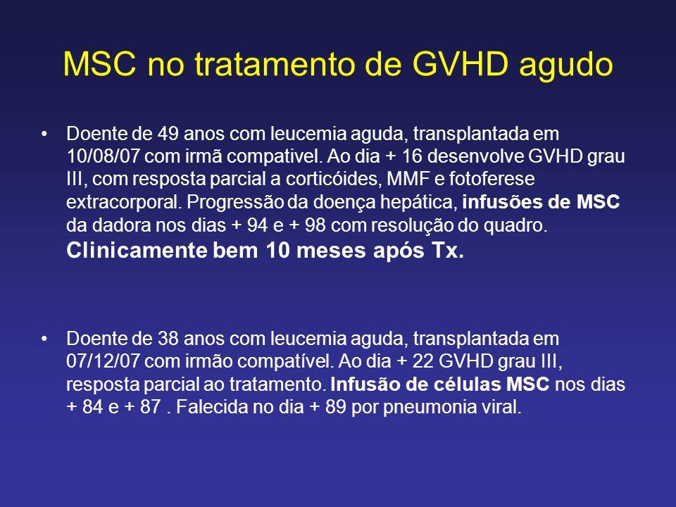 MSC no tratamento de GVHD agudo Doente de 49 anos com leucemia aguda, transplantada em 10/08/07 com irmã compativel. Ao dia + 16 desenvolve GVHD grau