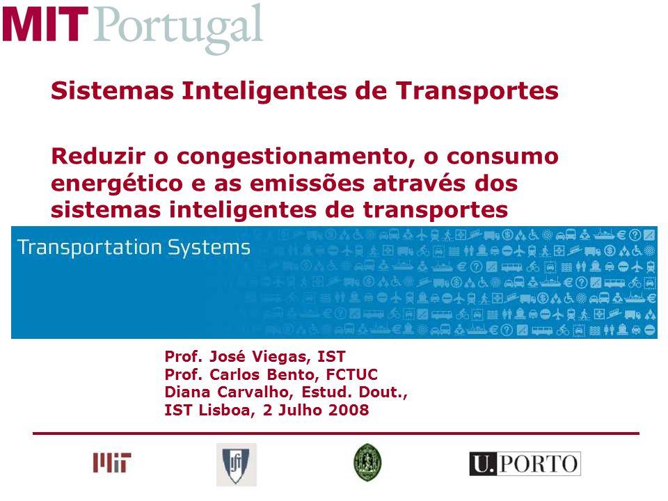 Prof. José Viegas, IST Prof. Carlos Bento, FCTUC Diana Carvalho, Estud. Dout., IST Lisboa, 2 Julho 2008 Sistemas Inteligentes de Transportes Reduzir o
