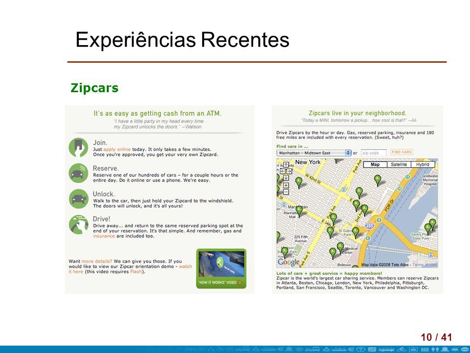 10 / 41 Experiências Recentes Zipcars