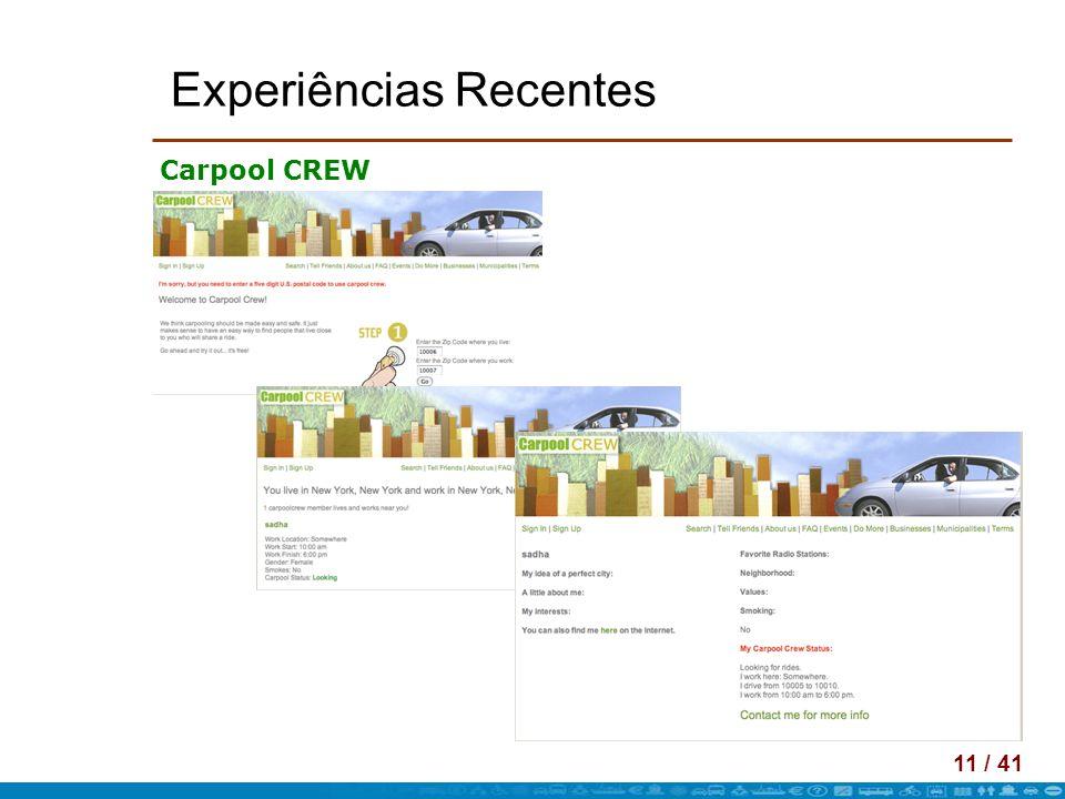 11 / 41 Experiências Recentes Carpool CREW