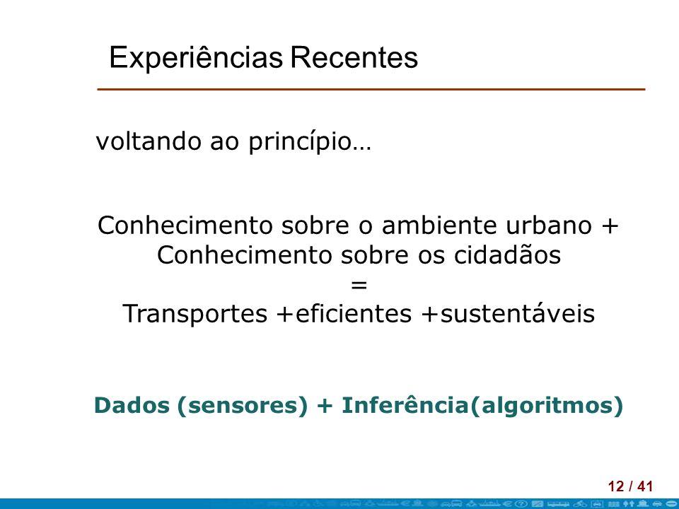 12 / 41 Experiências Recentes voltando ao princípio… Conhecimento sobre o ambiente urbano + Conhecimento sobre os cidadãos = Transportes +eficientes +