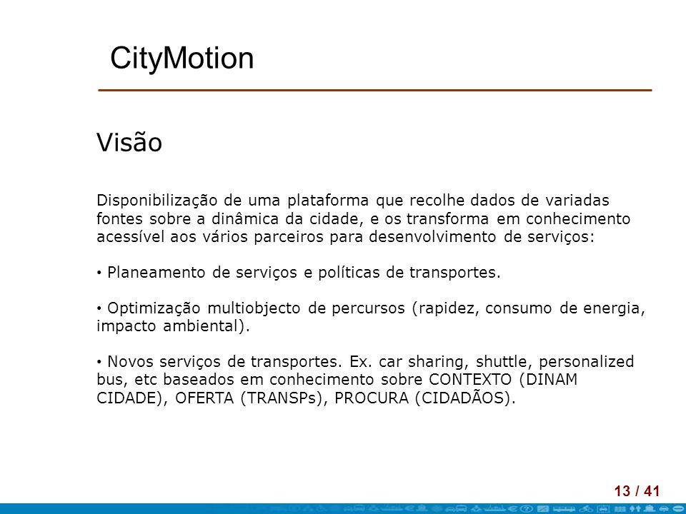13 / 41 CityMotion Visão Disponibilização de uma plataforma que recolhe dados de variadas fontes sobre a dinâmica da cidade, e os transforma em conhec