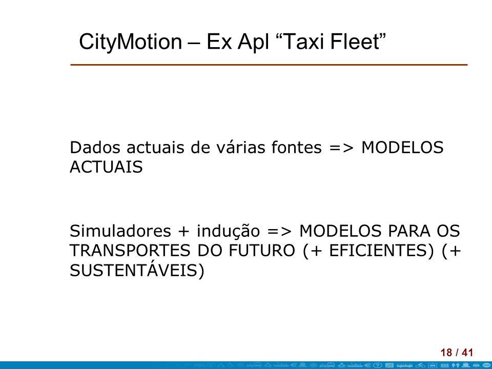 18 / 41 CityMotion – Ex Apl Taxi Fleet Dados actuais de várias fontes => MODELOS ACTUAIS Simuladores + indução => MODELOS PARA OS TRANSPORTES DO FUTUR