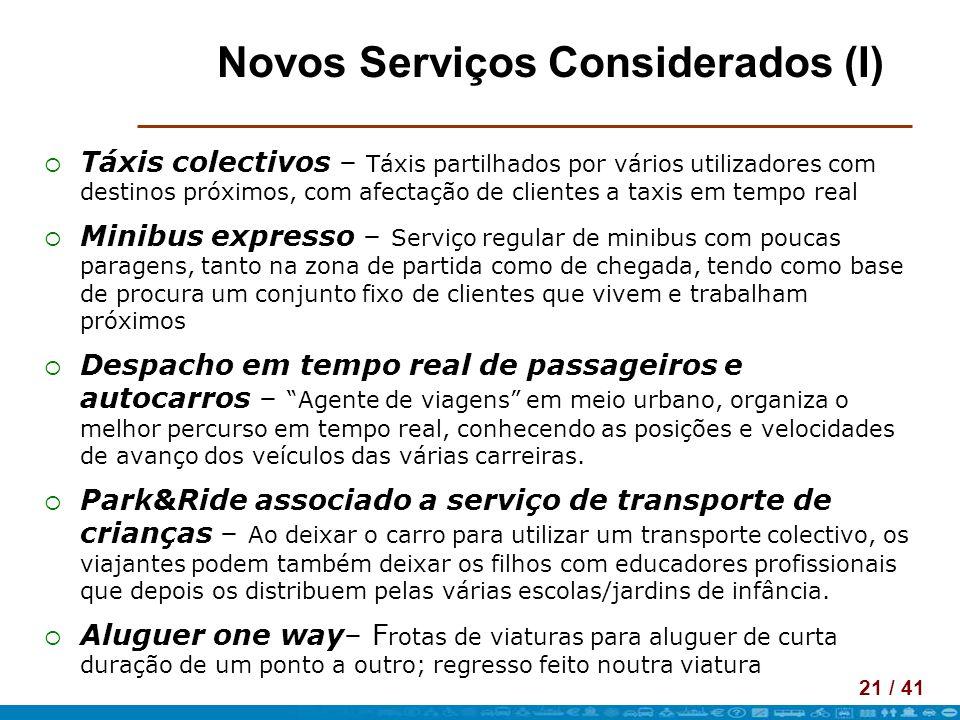21 / 41 Novos Serviços Considerados (I) Táxis colectivos – Táxis partilhados por vários utilizadores com destinos próximos, com afectação de clientes
