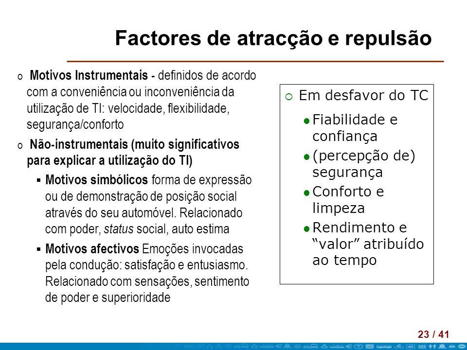 23 / 41 Factores de atracção e repulsão Em desfavor do TC Fiabilidade e confiança (percepção de) segurança Conforto e limpeza Rendimento e valor atrib