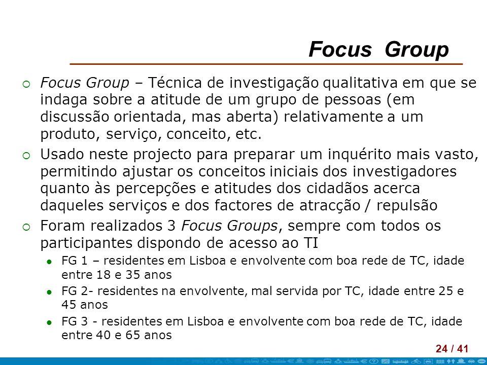 24 / 41 Focus Group Focus Group – Técnica de investigação qualitativa em que se indaga sobre a atitude de um grupo de pessoas (em discussão orientada,
