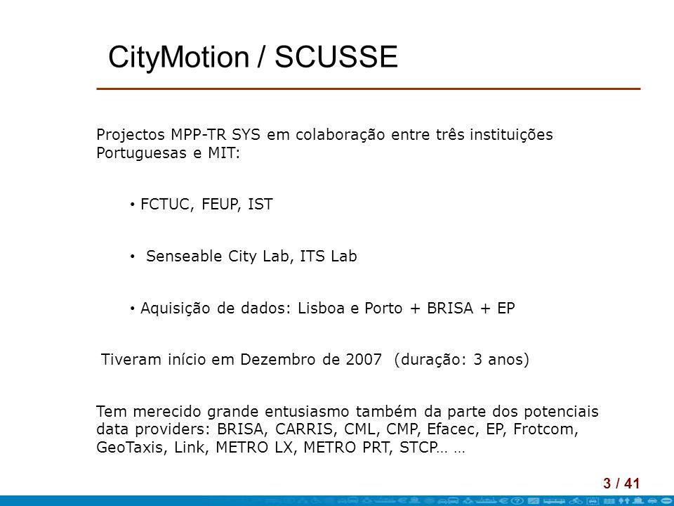 3 / 41 CityMotion / SCUSSE Projectos MPP-TR SYS em colaboração entre três instituições Portuguesas e MIT: FCTUC, FEUP, IST Senseable City Lab, ITS Lab