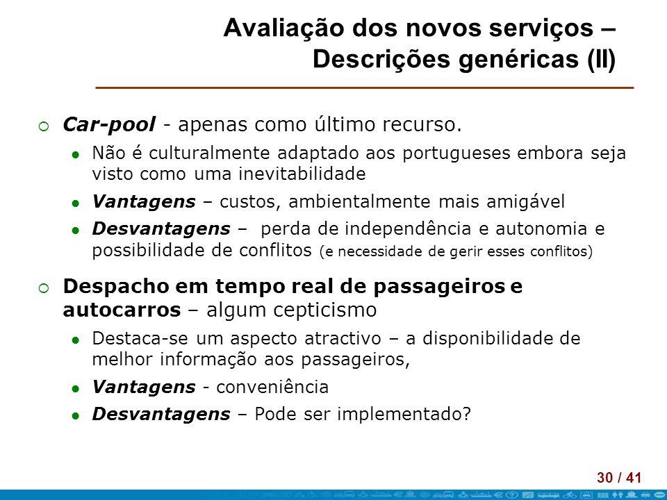 30 / 41 Avaliação dos novos serviços – Descrições genéricas (II) Car-pool - apenas como último recurso. Não é culturalmente adaptado aos portugueses e