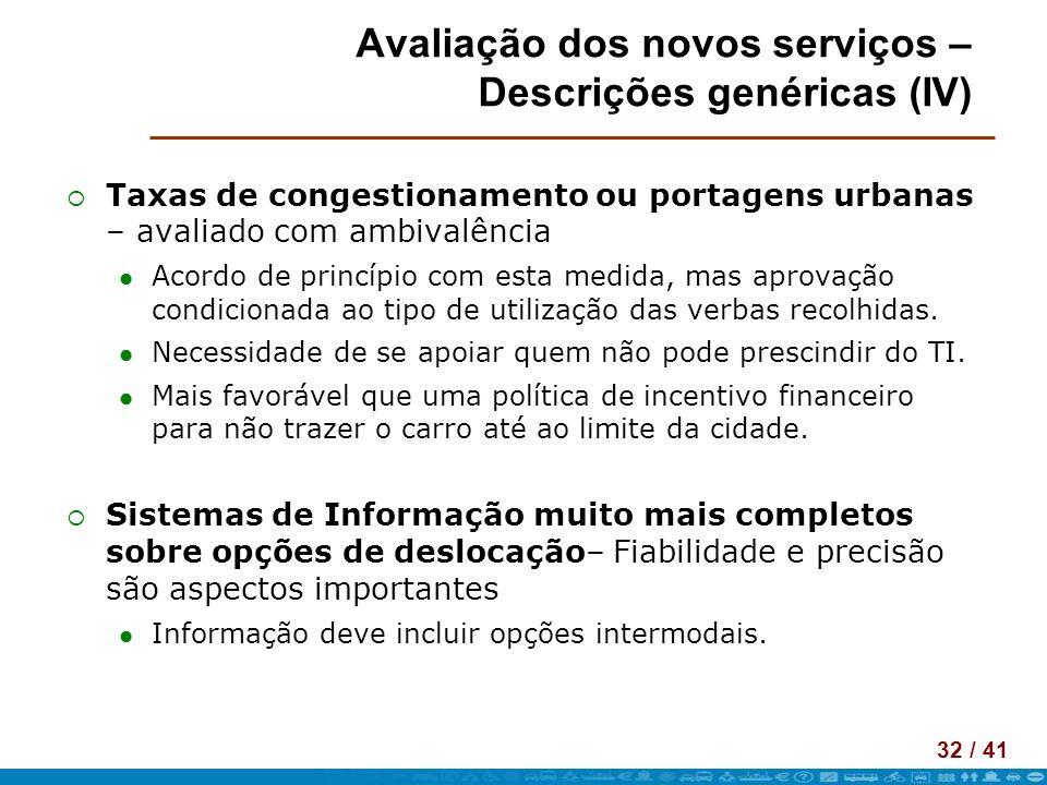 32 / 41 Avaliação dos novos serviços – Descrições genéricas (IV) Taxas de congestionamento ou portagens urbanas – avaliado com ambivalência Acordo de