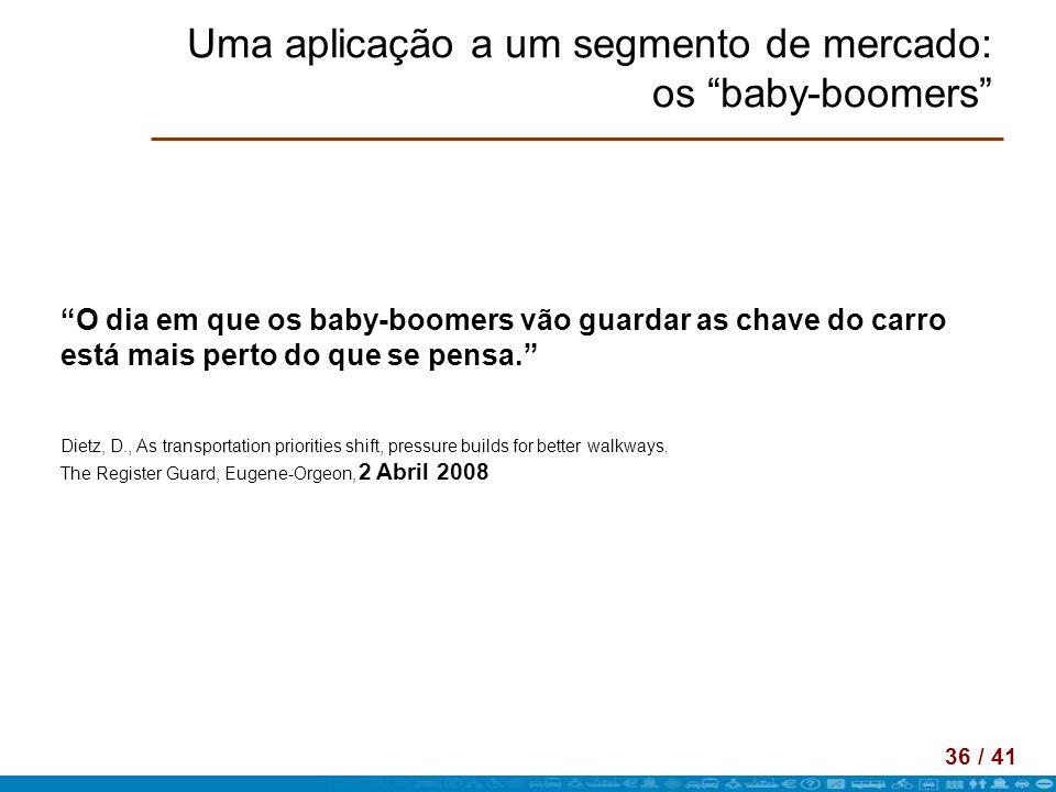 36 / 41 Uma aplicação a um segmento de mercado: os baby-boomers O dia em que os baby-boomers vão guardar as chave do carro está mais perto do que se p
