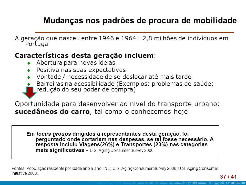 37 / 41 Mudanças nos padrões de procura de mobilidade A geração que nasceu entre 1946 e 1964 : 2,8 milhões de indivíduos em Portugal Características d