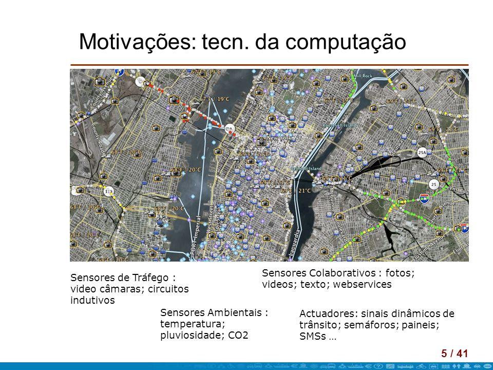 5 / 41 Motivações: tecn. da computação Sensores de Tráfego : video câmaras; circuitos indutivos Sensores Ambientais : temperatura; pluviosidade; CO2 S