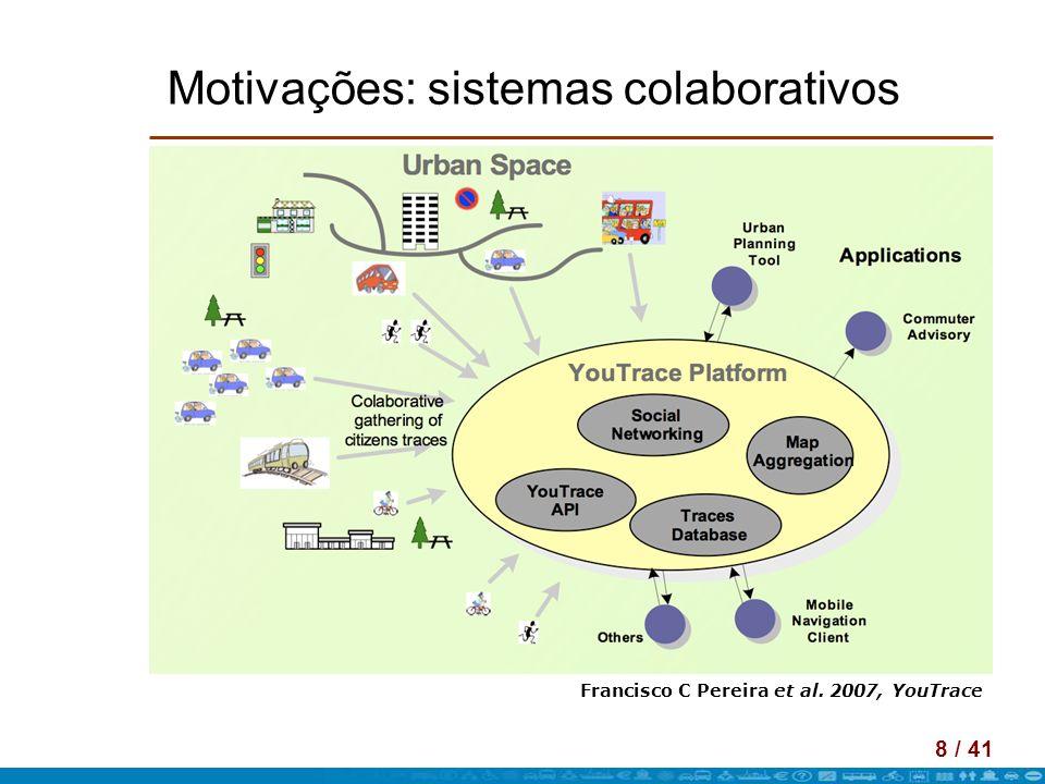 9 / 41 Motivações: sistemas colaborativos Francisco C Pereira et al. 2007, YouTrace