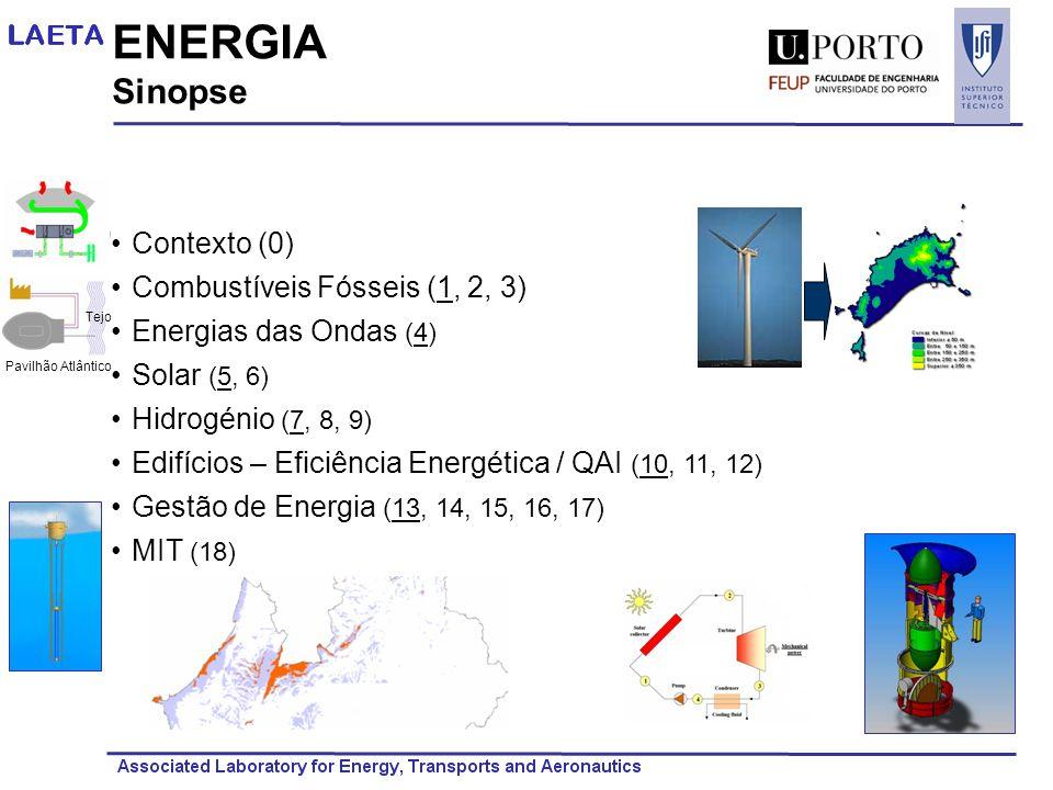 ENERGIA Sinopse Contexto (0) Combustíveis Fósseis (1, 2, 3) Energias das Ondas (4) Solar (5, 6) Hidrogénio (7, 8, 9) Edifícios – Eficiência Energética