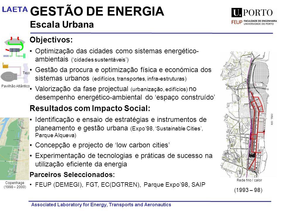 GESTÃO DE ENERGIA Escala Urbana Objectivos: Optimização das cidades como sistemas energético- ambientais (cidades sustentáveis) Gestão da procura e op