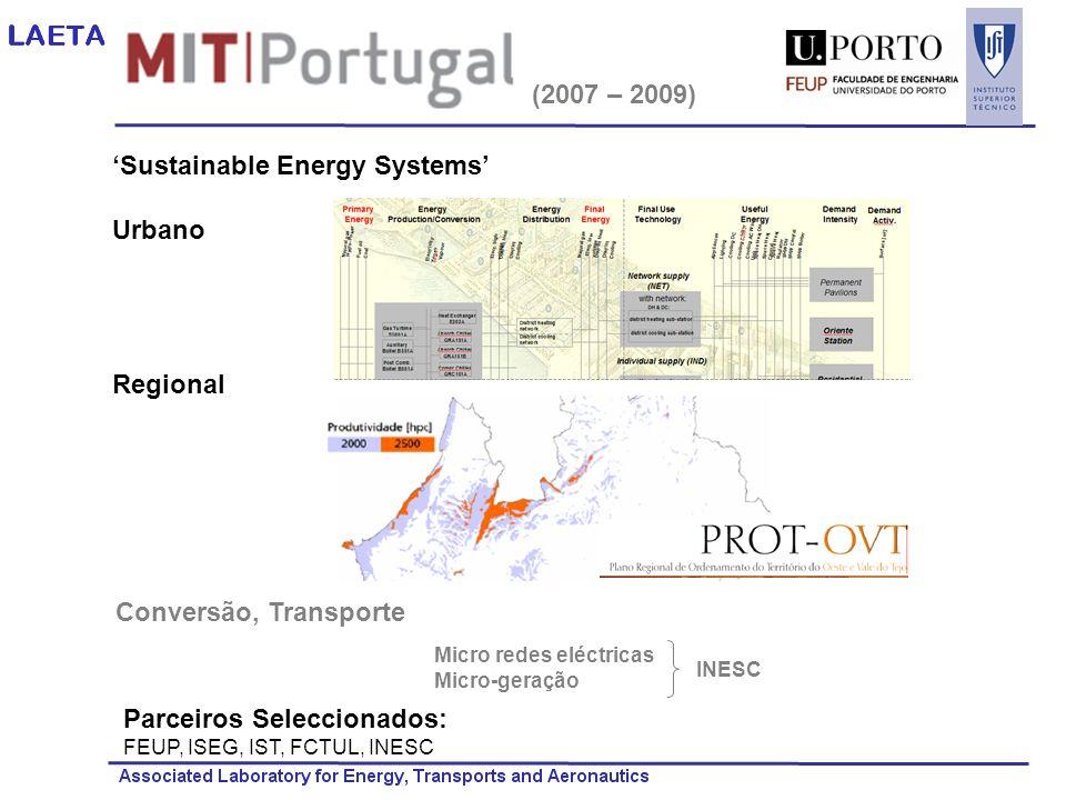 (2007 – 2009) Sustainable Energy Systems Urbano Regional Conversão, Transporte Parceiros Seleccionados: FEUP, ISEG, IST, FCTUL, INESC Micro redes eléc