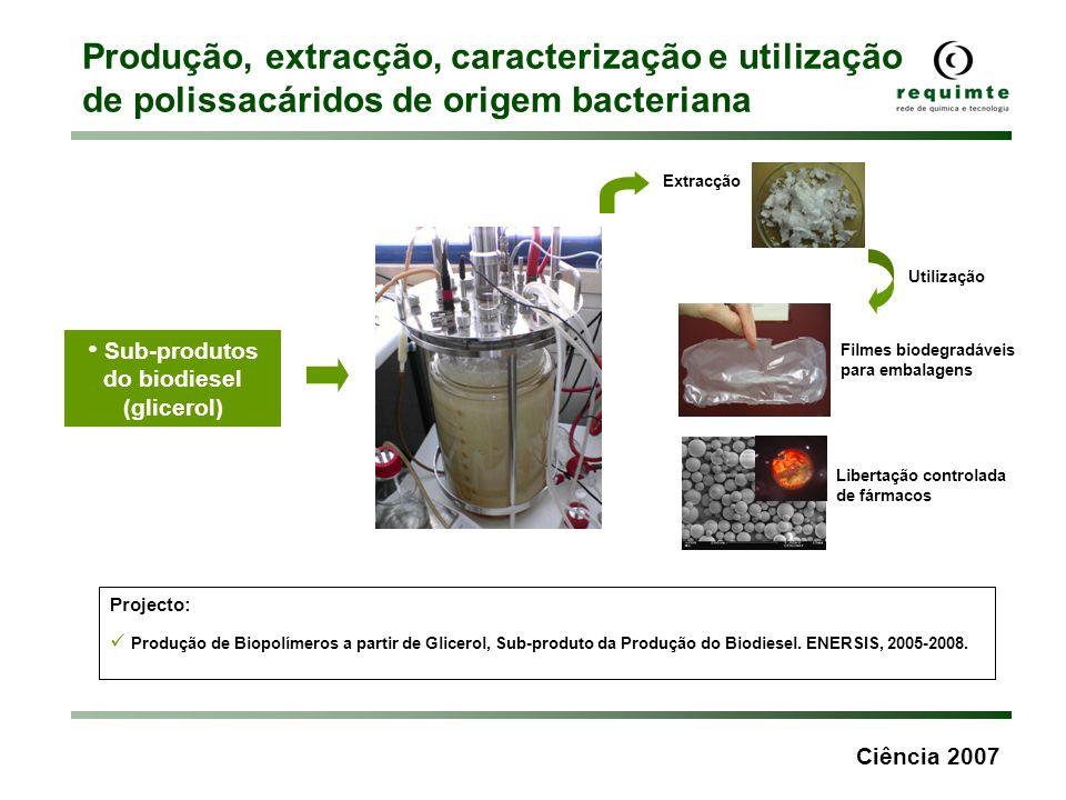 Ciência 2007 Produção, extracção, caracterização e utilização de polissacáridos de origem bacteriana Sub-produtos do biodiesel (glicerol) Projecto: Pr