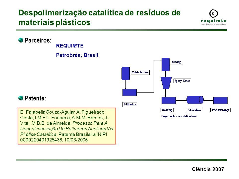 Ciência 2007 Despolimerização catalítica de resíduos de materiais plásticos Parceiros: REQUIMTE Petrobrás, Brasil Patente: E. Falabella Souza-Aguiar,