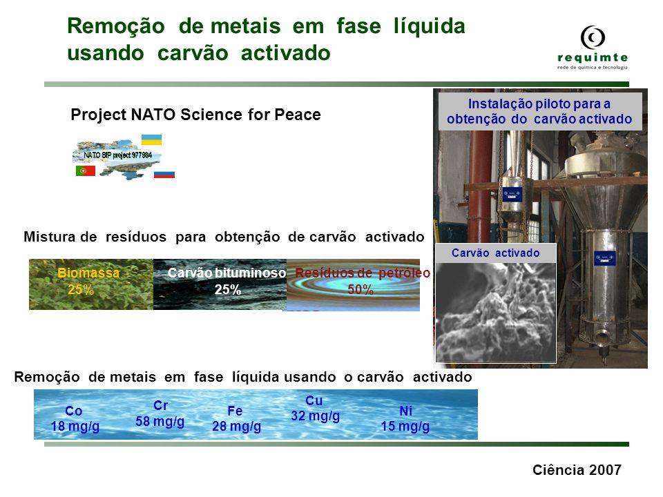 Ciência 2007 Carvão activado Remoção de metais em fase líquida usando o carvão activado Cr 58 mg/g Fe 28 mg/g Cu 32 mg/g Ni 15 mg/g Co 18 mg/g Instala