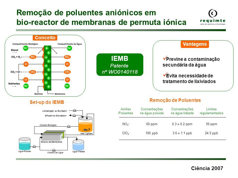 Ciência 2007 Remoção de poluentes aniónicos em bio-reactor de membranas de permuta iónica Aniões Poluentes Concentrações na água poluida Concentrações