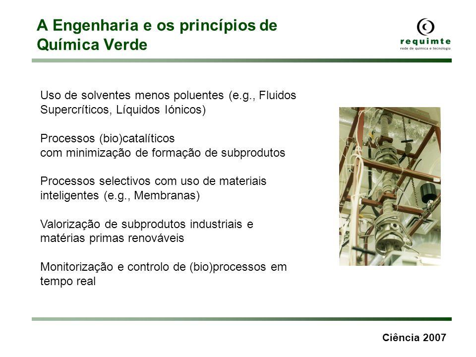 Ciência 2007 A Engenharia e os princípios de Química Verde Uso de solventes menos poluentes (e.g., Fluidos Supercríticos, Líquidos Iónicos) Processos