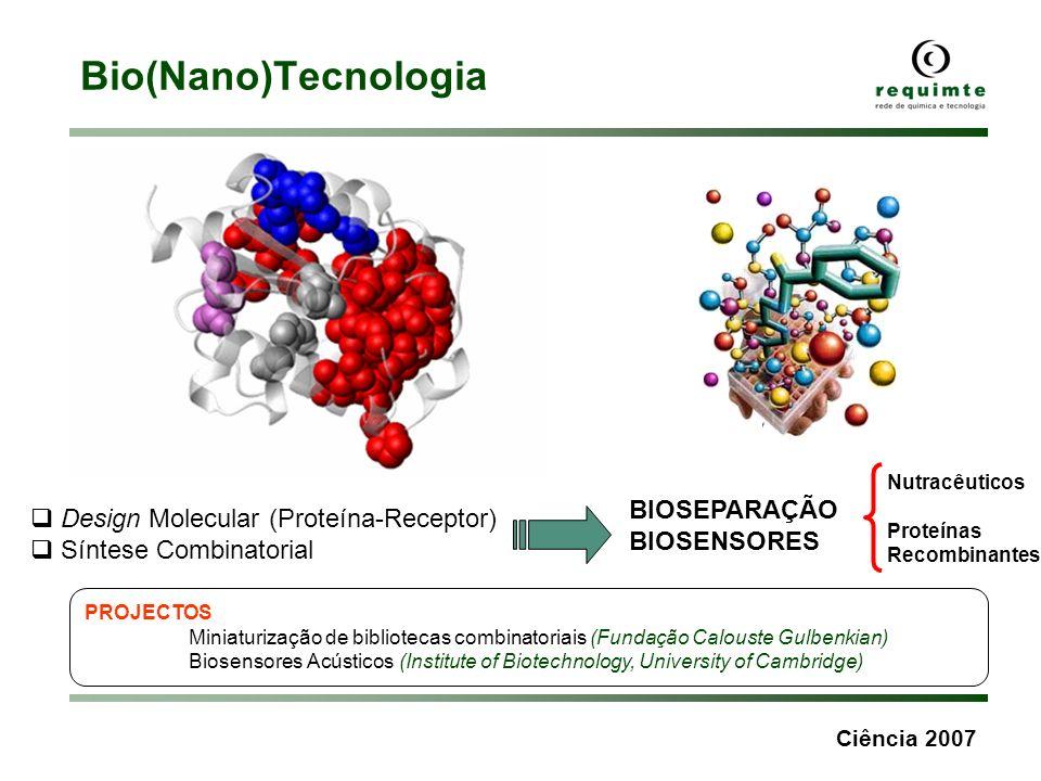 Ciência 2007 Bio(Nano)Tecnologia Design Molecular (Proteína-Receptor) Síntese Combinatorial BIOSEPARAÇÃO BIOSENSORES PROJECTOS Miniaturização de bibli