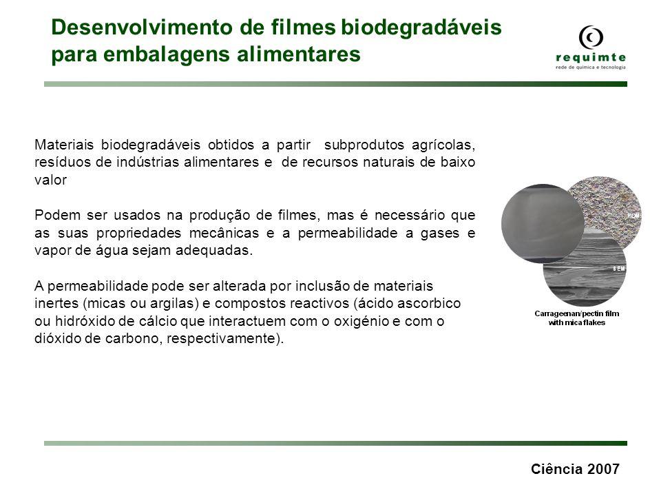 Ciência 2007 Desenvolvimento de filmes biodegradáveis para embalagens alimentares Materiais biodegradáveis obtidos a partir subprodutos agrícolas, res
