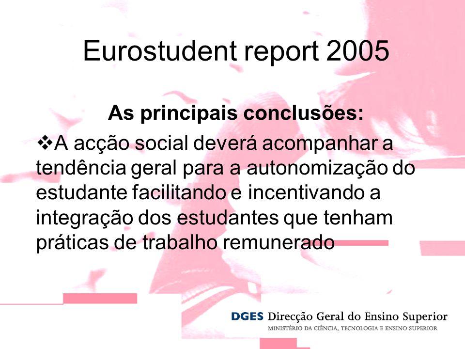 As principais conclusões: A acção social deverá acompanhar a tendência geral para a autonomização do estudante facilitando e incentivando a integração dos estudantes que tenham práticas de trabalho remunerado