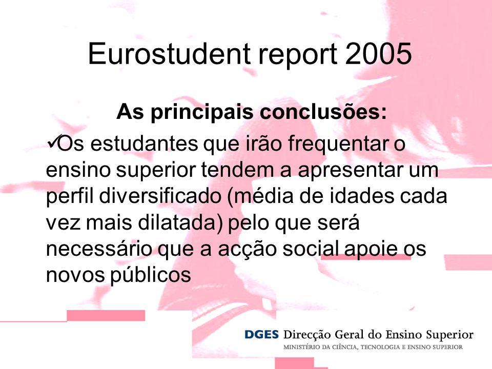 Eurostudent report 2005 As principais conclusões: Os estudantes que irão frequentar o ensino superior tendem a apresentar um perfil diversificado (média de idades cada vez mais dilatada) pelo que será necessário que a acção social apoie os novos públicos