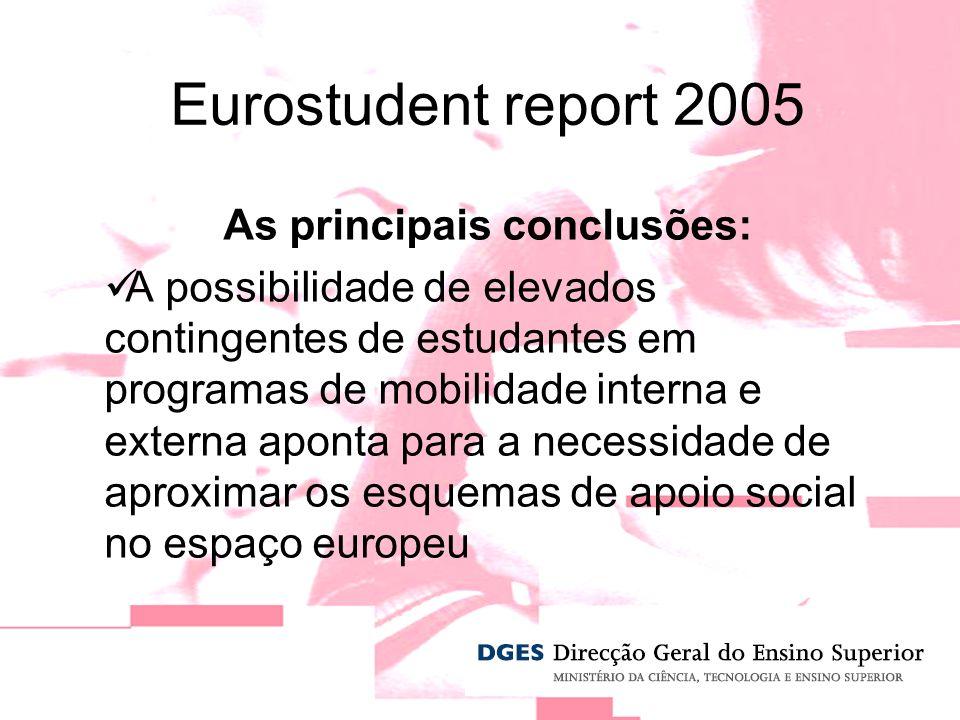 As principais conclusões: A possibilidade de elevados contingentes de estudantes em programas de mobilidade interna e externa aponta para a necessidade de aproximar os esquemas de apoio social no espaço europeu Eurostudent report 2005