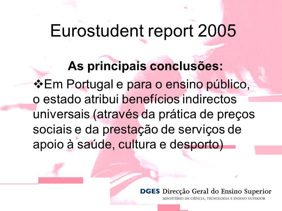 As principais conclusões: Em Portugal e para o ensino público, o estado atribui benefícios indirectos universais (através da prática de preços sociais e da prestação de serviços de apoio à saúde, cultura e desporto) Eurostudent report 2005