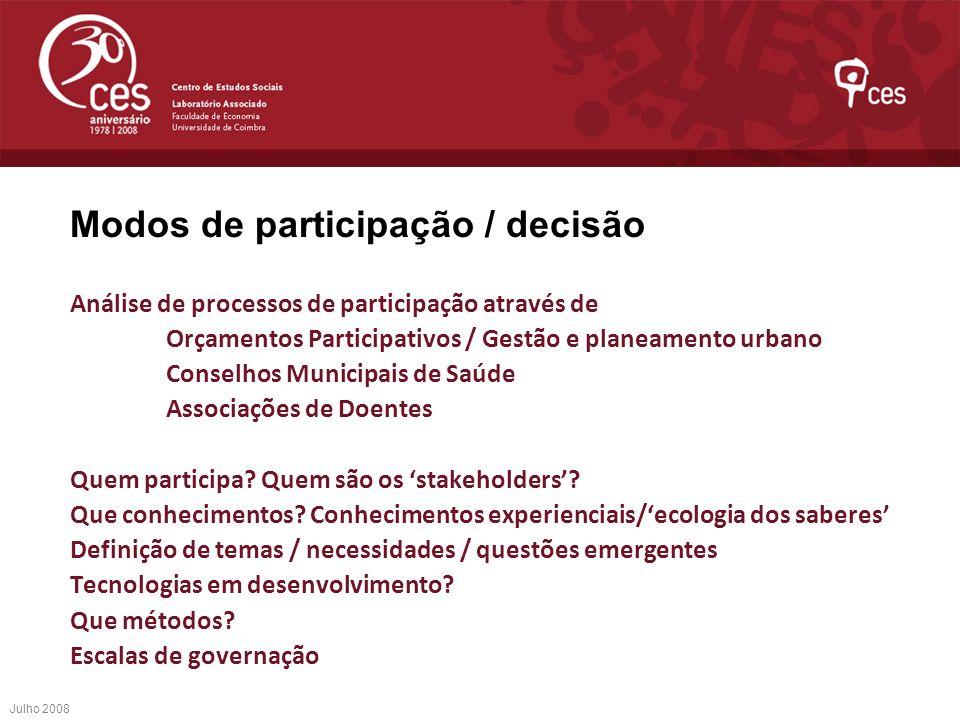 Modos de participação / decisão Análise de processos de participação através de Orçamentos Participativos / Gestão e planeamento urbano Conselhos Muni