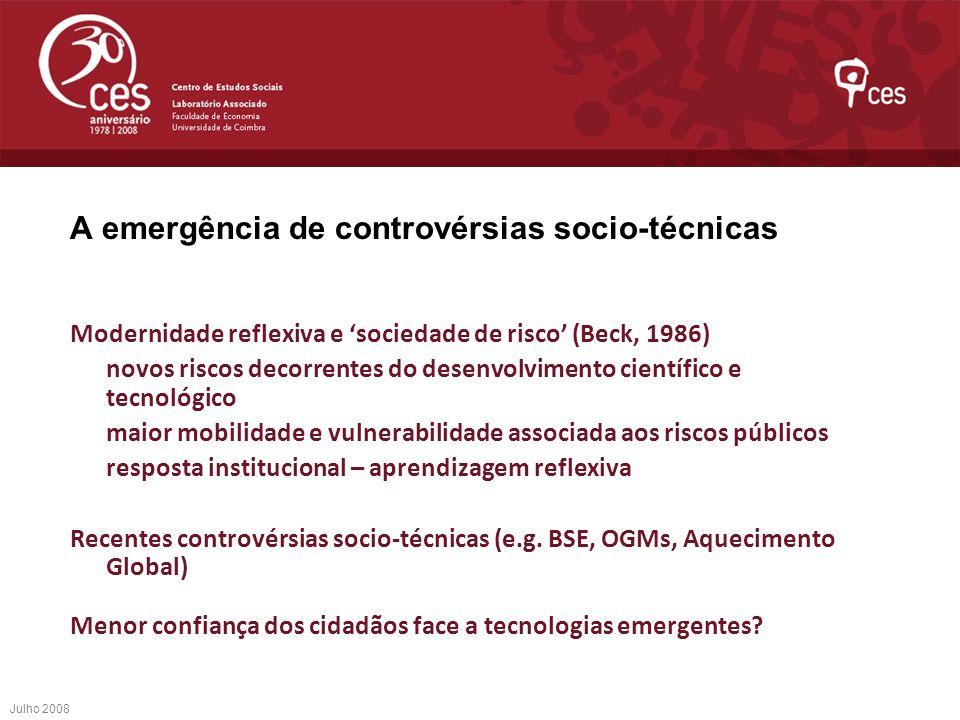 Julho 2008 A emergência de controvérsias socio-técnicas Modernidade reflexiva e sociedade de risco (Beck, 1986) novos riscos decorrentes do desenvolvi