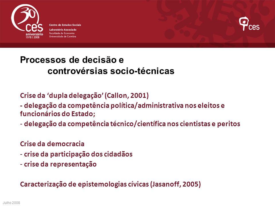 Processos de decisão e controvérsias socio-técnicas Crise da dupla delegação (Callon, 2001) - delegação da competência política/administrativa nos ele