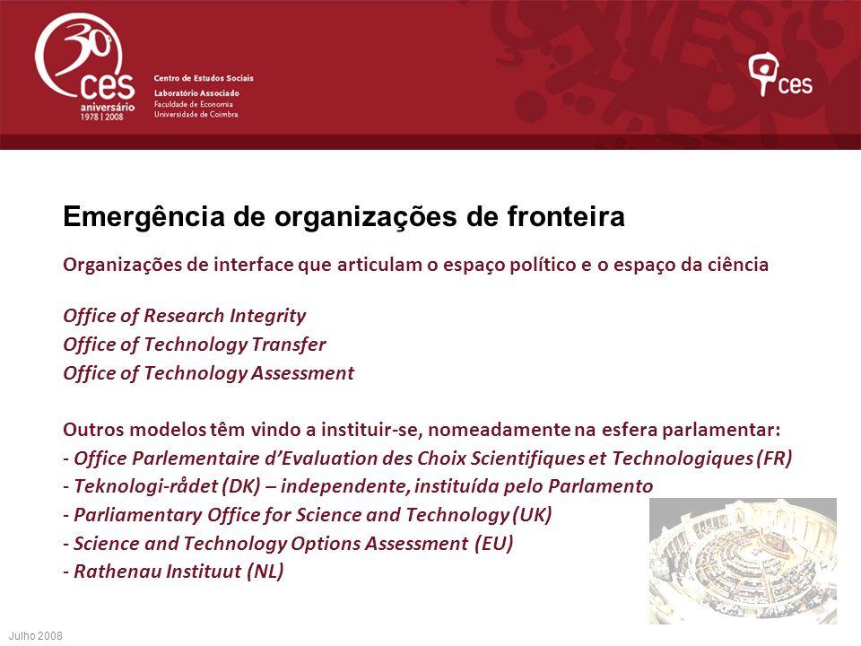 Emergência de organizações de fronteira Organizações de interface que articulam o espaço político e o espaço da ciência Office of Research Integrity O