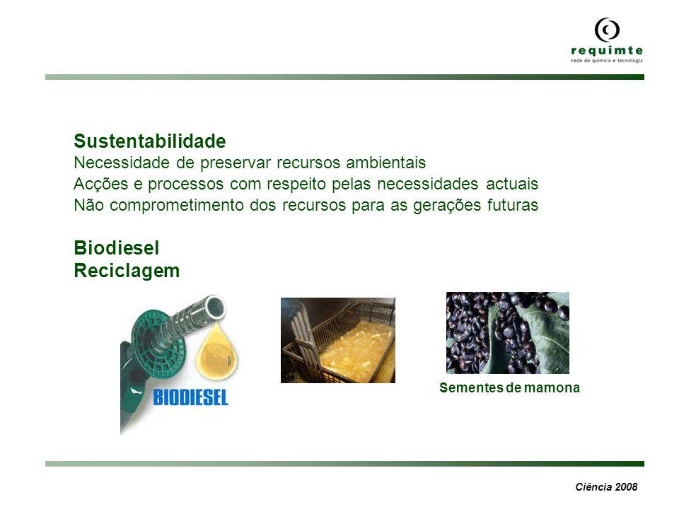 Ciência 2008 Sementes de mamona Sustentabilidade Necessidade de preservar recursos ambientais Acções e processos com respeito pelas necessidades actua