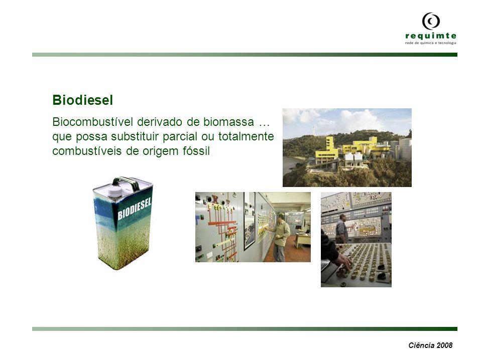 Ciência 2008 Biodiesel Biocombustível derivado de biomassa … que possa substituir parcial ou totalmente combustíveis de origem fóssil